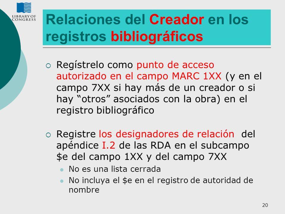 Relaciones del Creador en los registros bibliográficos