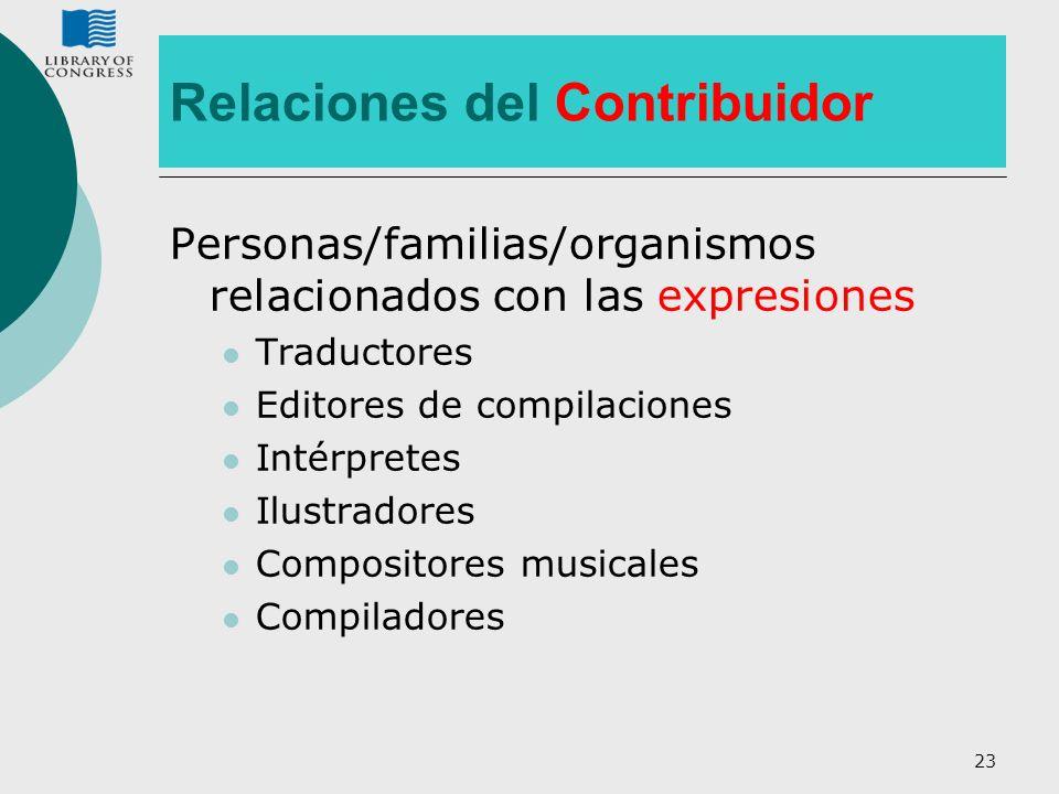 Relaciones del Contribuidor