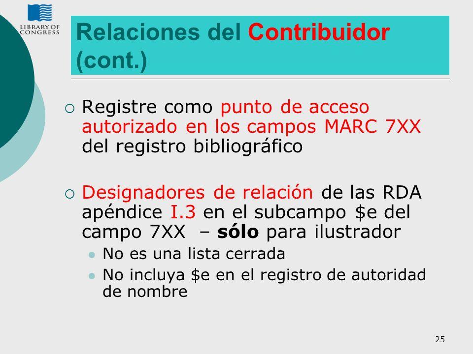 Relaciones del Contribuidor (cont.)