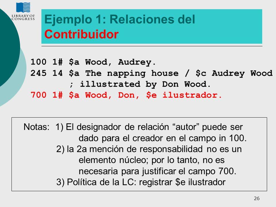 Ejemplo 1: Relaciones del Contribuidor