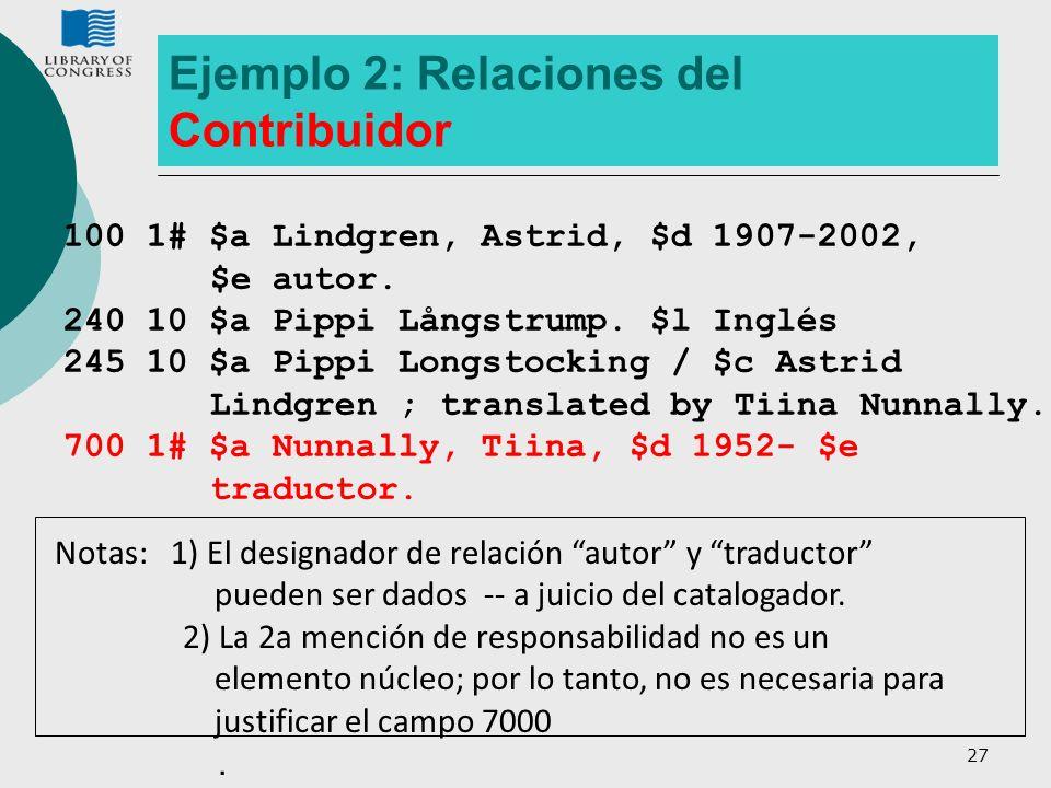 Ejemplo 2: Relaciones del Contribuidor
