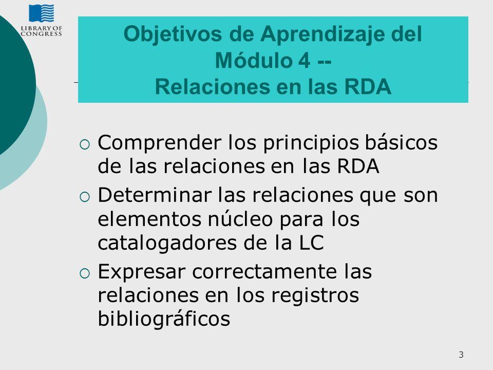 Objetivos de Aprendizaje del Módulo 4 -- Relaciones en las RDA
