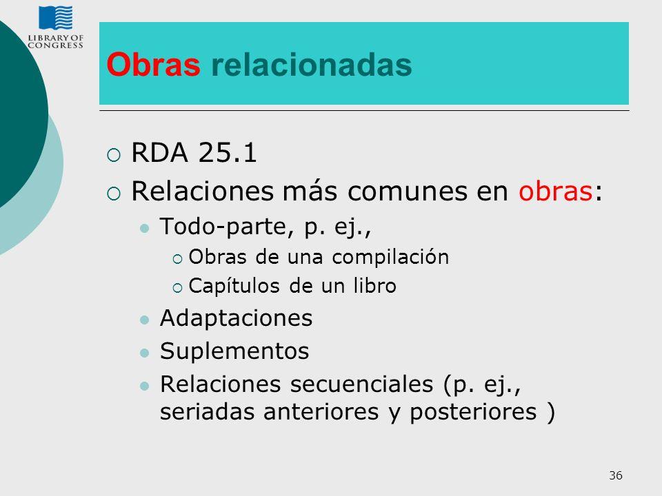 Obras relacionadas RDA 25.1 Relaciones más comunes en obras: