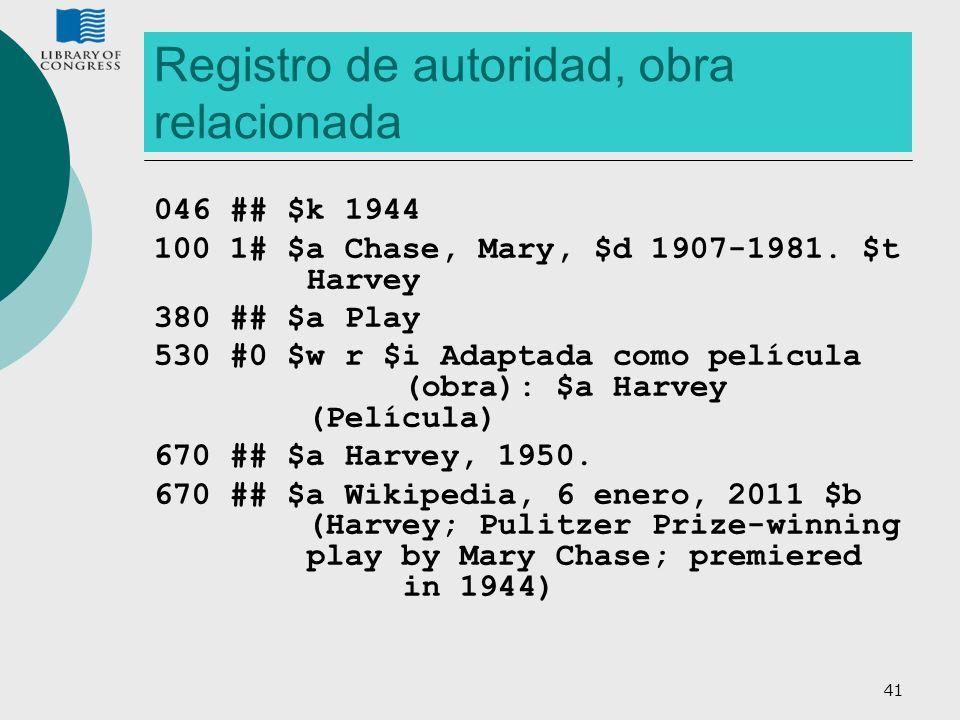 Registro de autoridad, obra relacionada