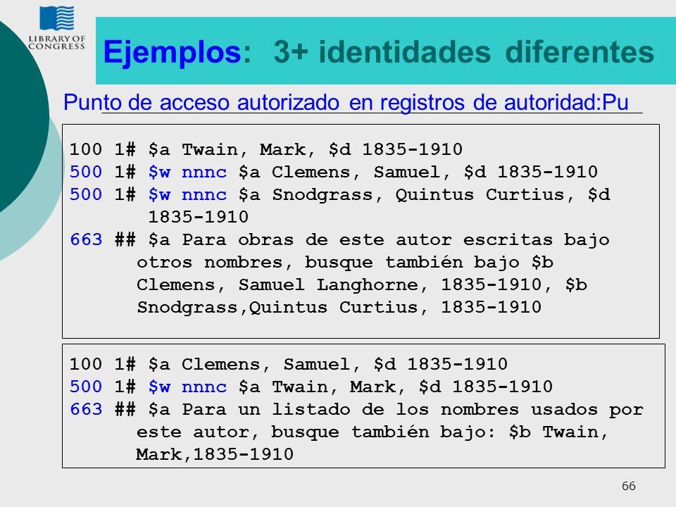 Ejemplos: 3+ identidades diferentes