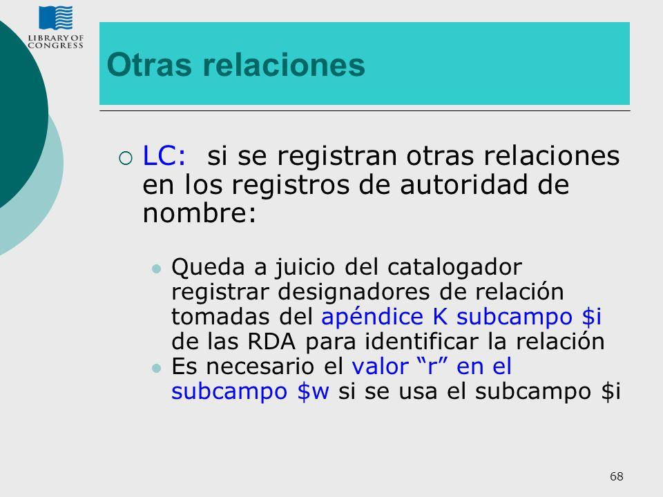 Otras relaciones LC: si se registran otras relaciones en los registros de autoridad de nombre:
