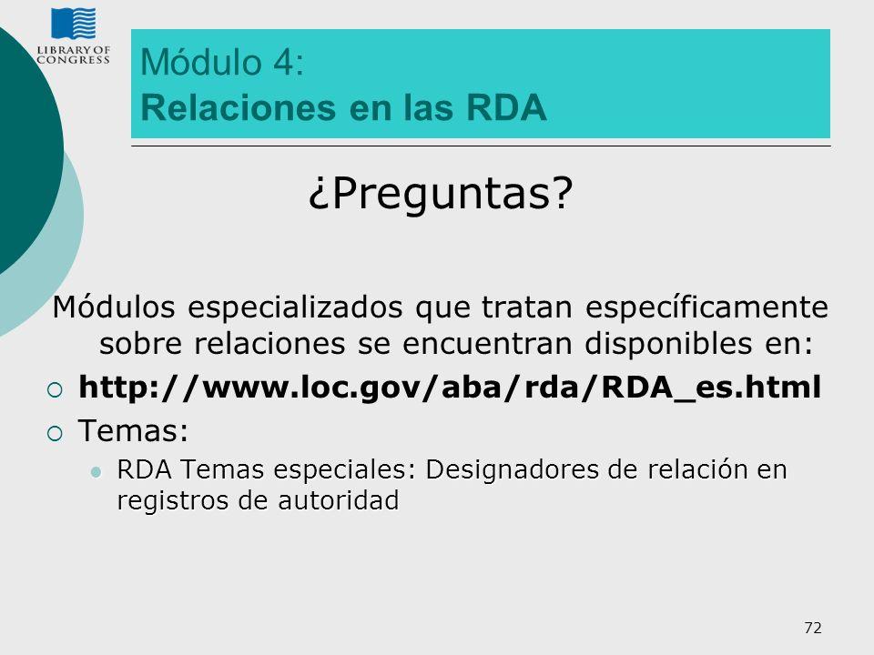 Módulo 4: Relaciones en las RDA
