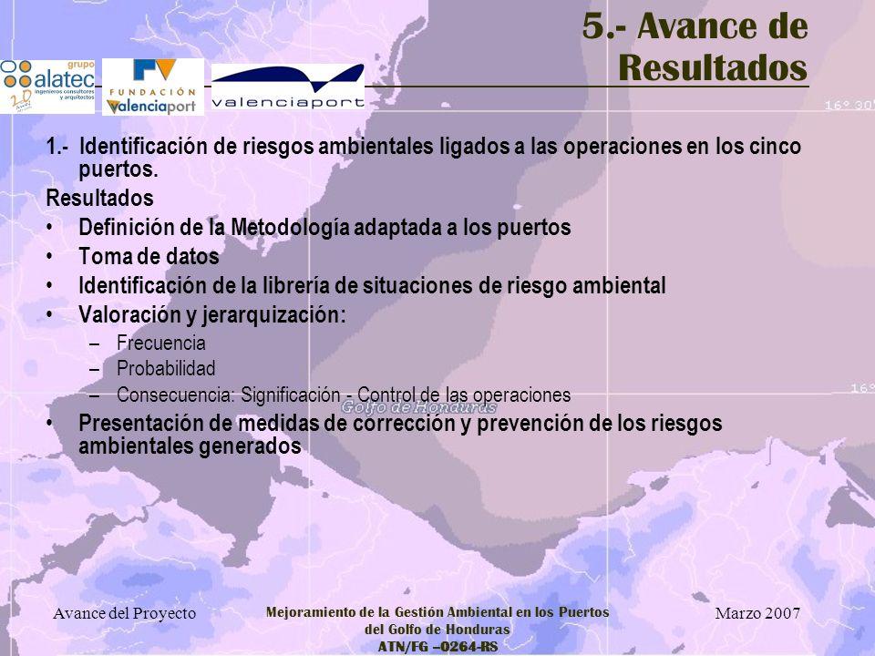 5.- Avance de Resultados 1.- Identificación de riesgos ambientales ligados a las operaciones en los cinco puertos.