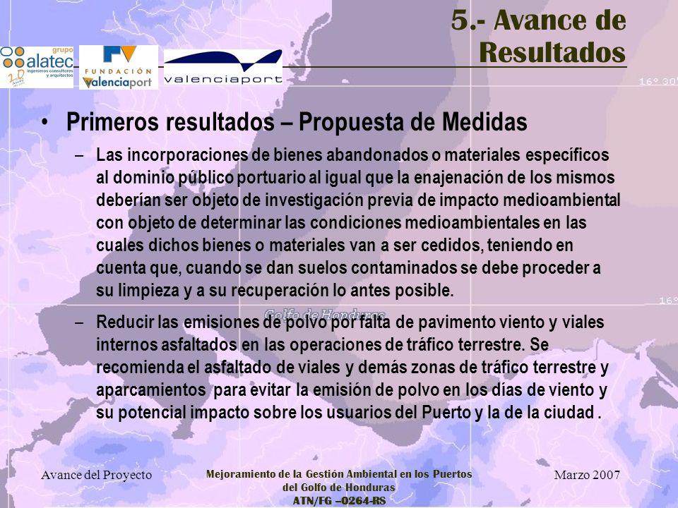 5.- Avance de Resultados Primeros resultados – Propuesta de Medidas