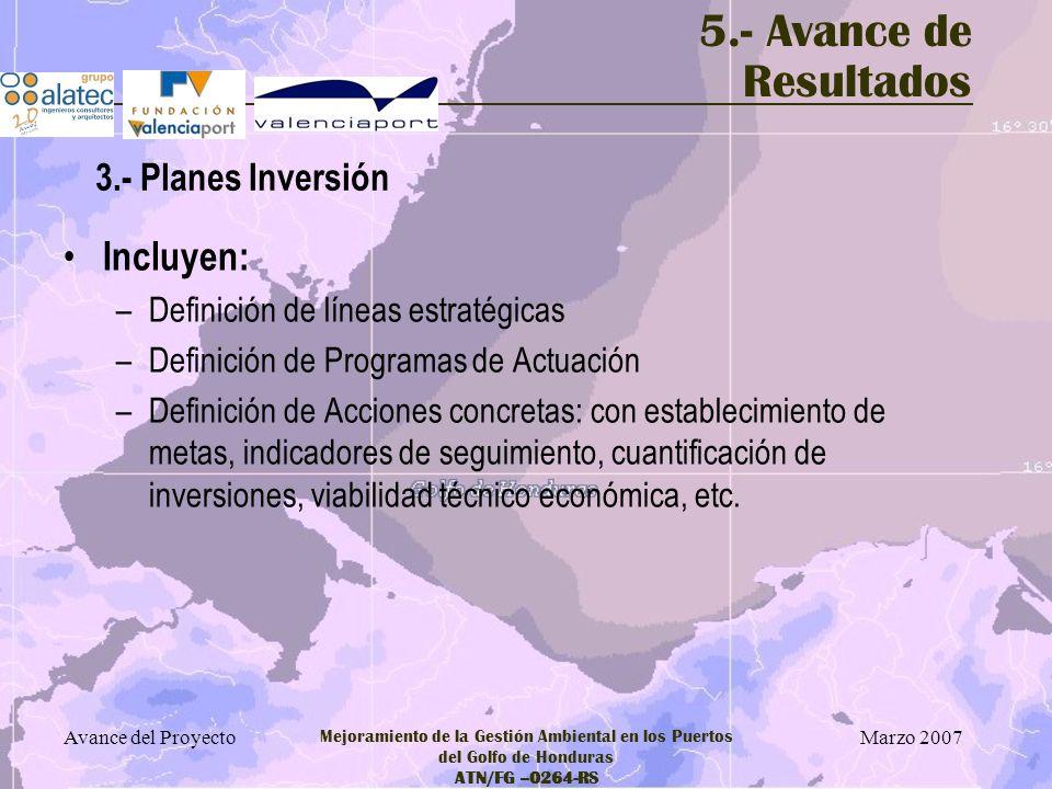 5.- Avance de Resultados Incluyen: 3.- Planes Inversión