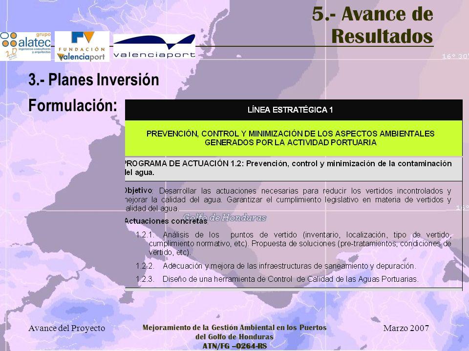 5.- Avance de Resultados 3.- Planes Inversión Formulación: