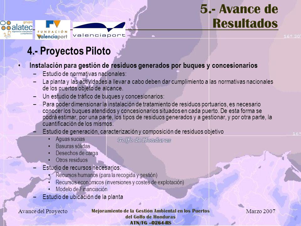 5.- Avance de Resultados 4.- Proyectos Piloto