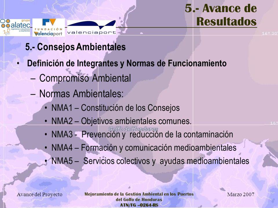 5.- Avance de Resultados Compromiso Ambiental Normas Ambientales: