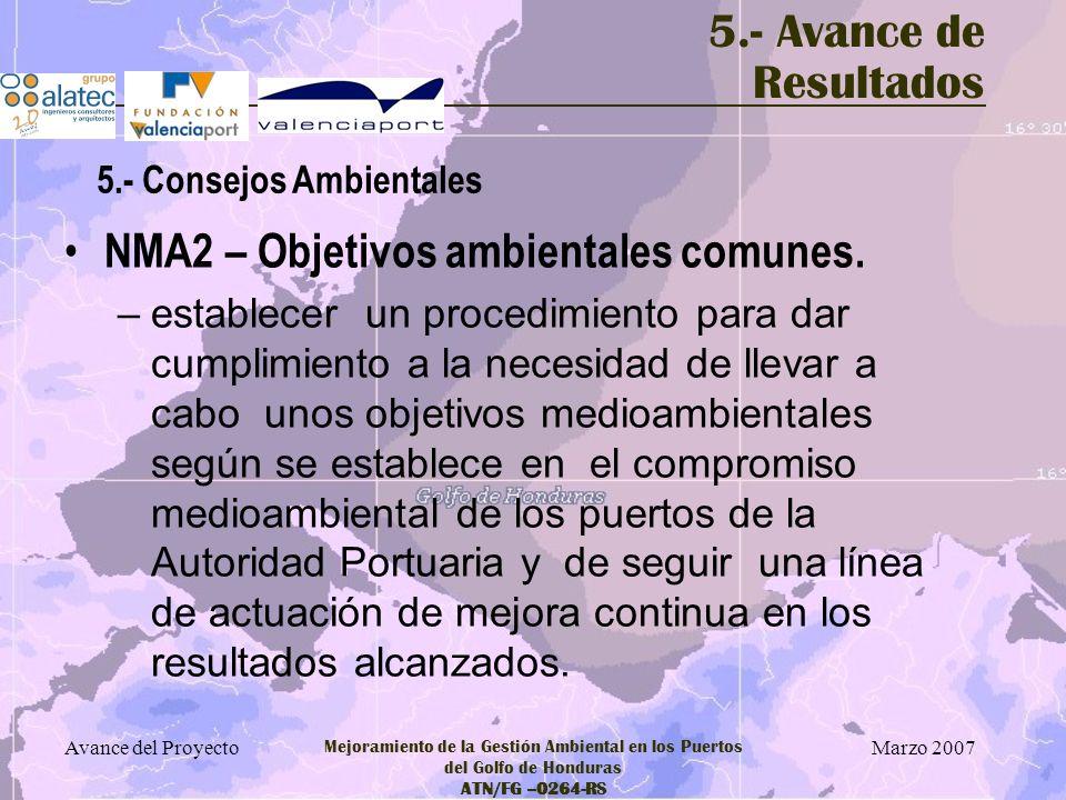 NMA2 – Objetivos ambientales comunes.