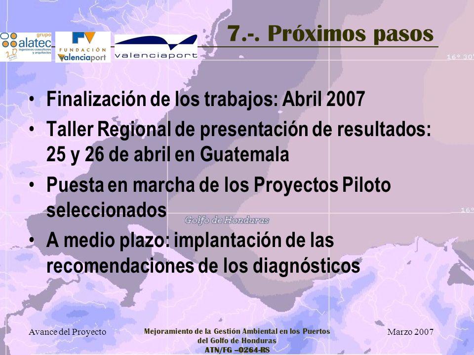 7.-. Próximos pasos Finalización de los trabajos: Abril 2007