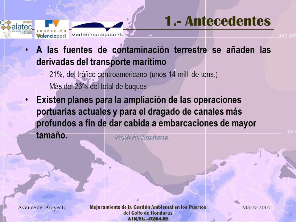 1.- Antecedentes A las fuentes de contaminación terrestre se añaden las derivadas del transporte marítimo.