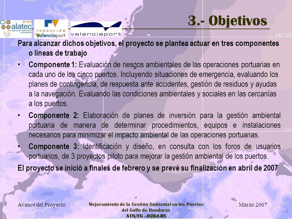 3.- Objetivos Para alcanzar dichos objetivos, el proyecto se plantea actuar en tres componentes o líneas de trabajo.