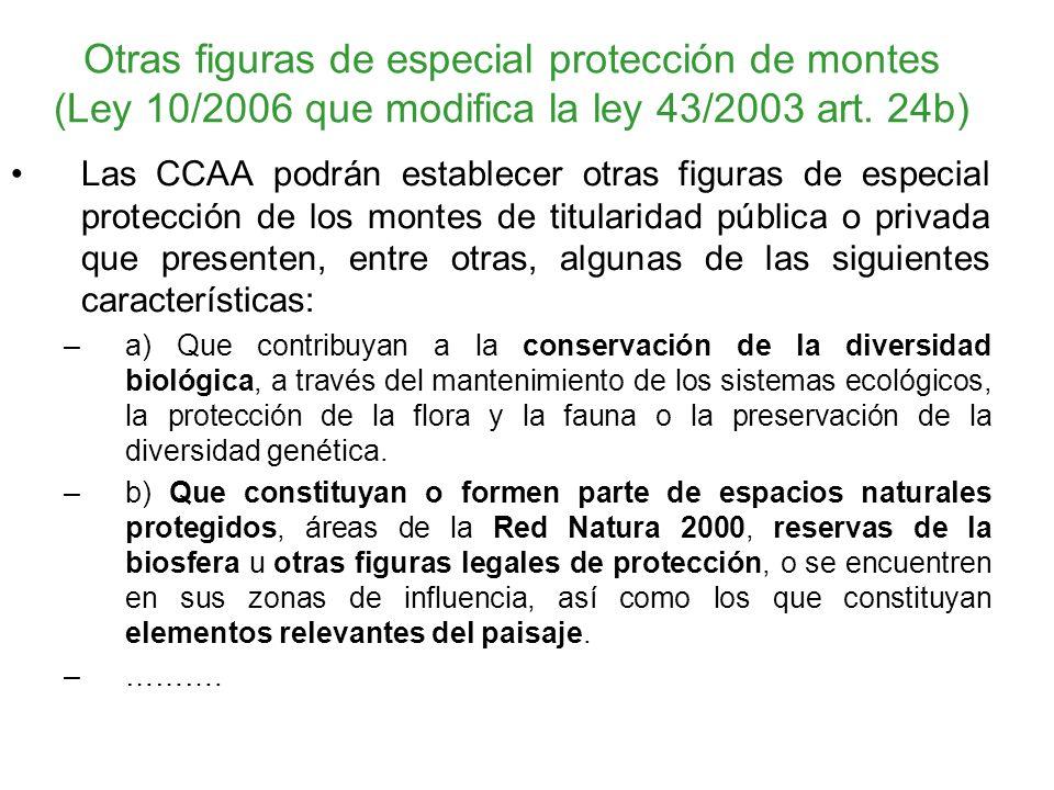 Otras figuras de especial protección de montes (Ley 10/2006 que modifica la ley 43/2003 art. 24b)