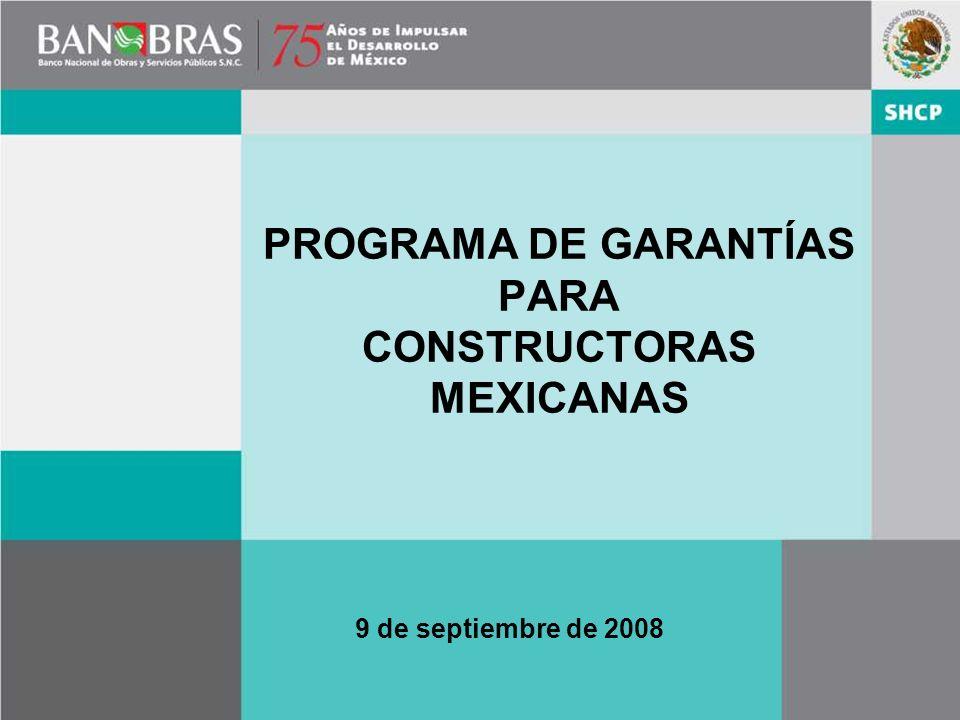 PROGRAMA DE GARANTÍAS PARA CONSTRUCTORAS MEXICANAS