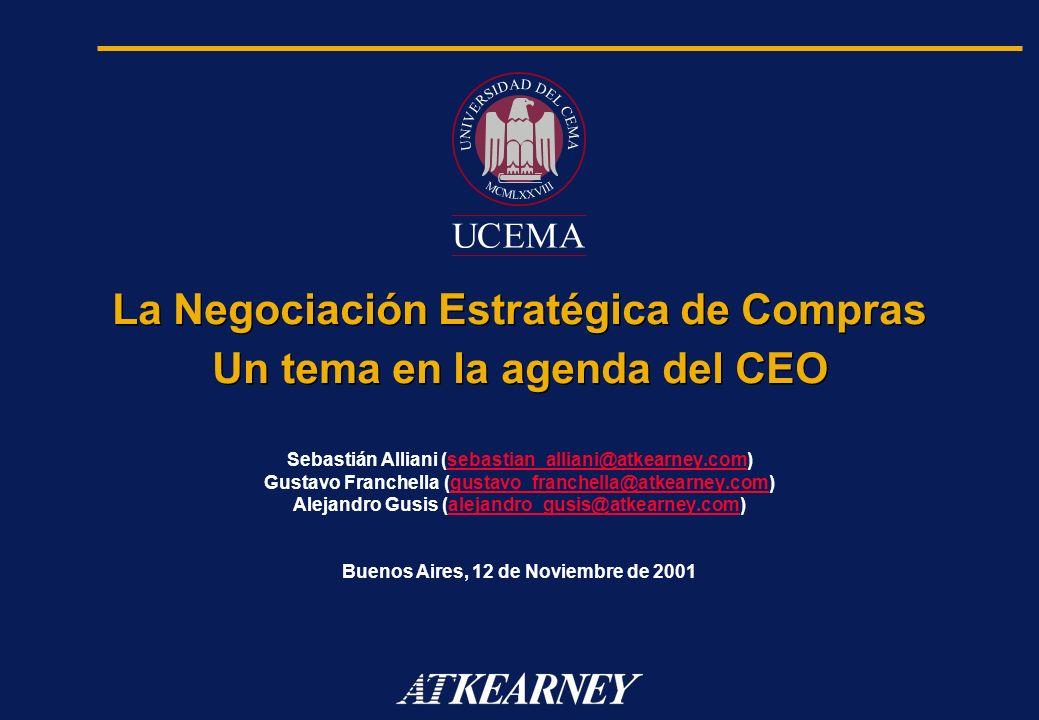 La Negociación Estratégica de Compras Un tema en la agenda del CEO