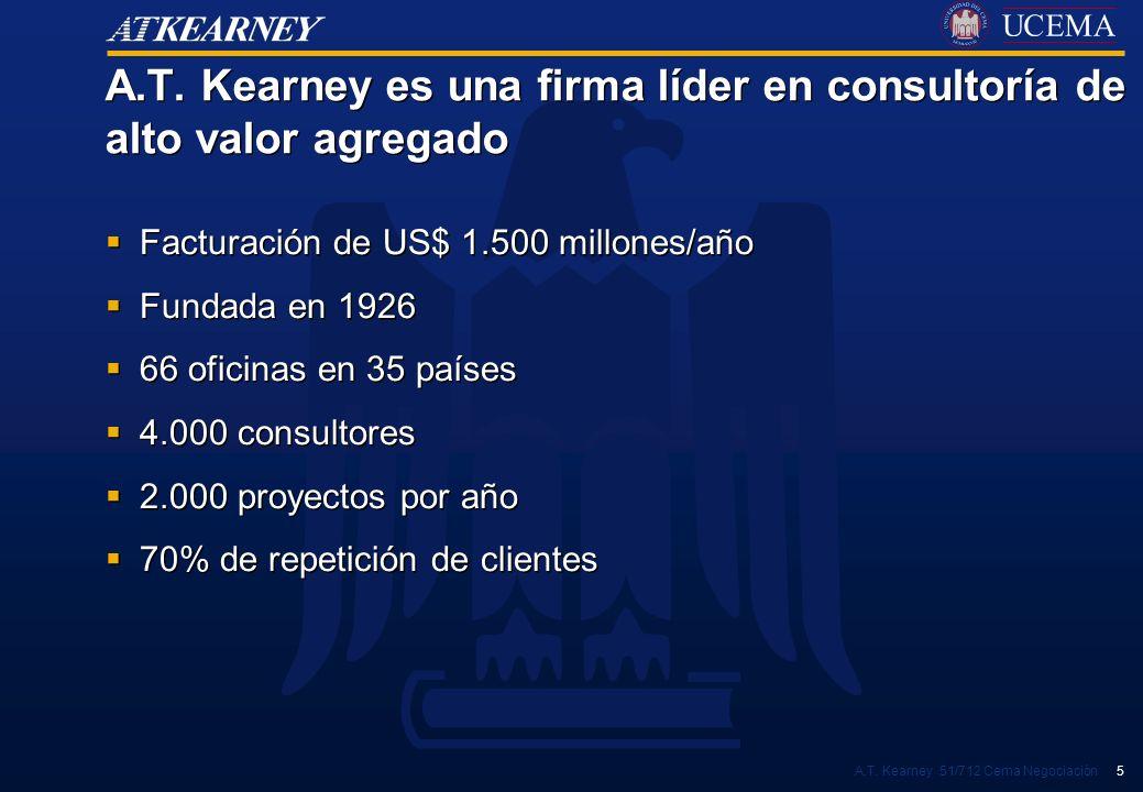 A.T. Kearney es una firma líder en consultoría de alto valor agregado