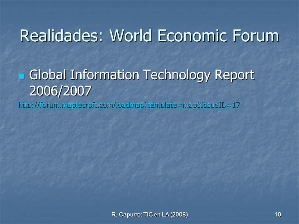 Realidades: World Economic Forum