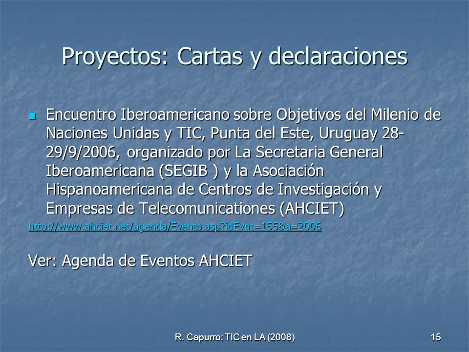 Proyectos: Cartas y declaraciones