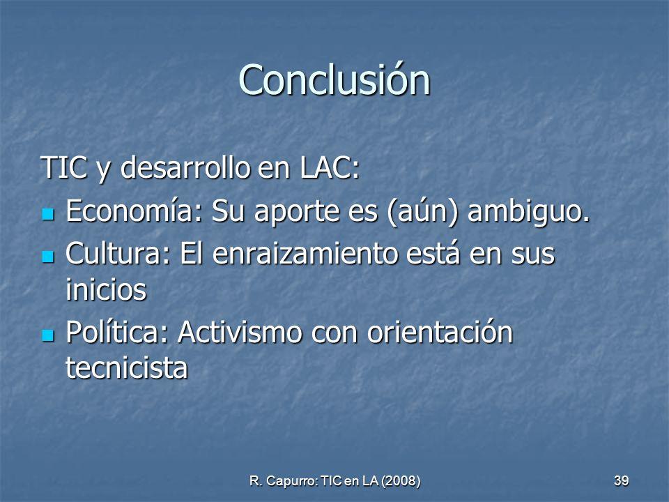 Conclusión TIC y desarrollo en LAC: