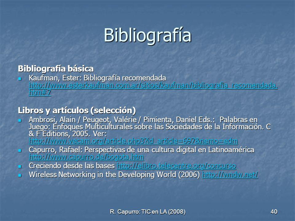 Bibliografía Bibliografía básica Libros y artículos (selección)