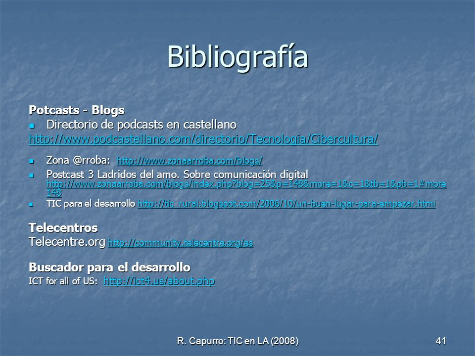 Bibliografía Potcasts - Blogs Directorio de podcasts en castellano