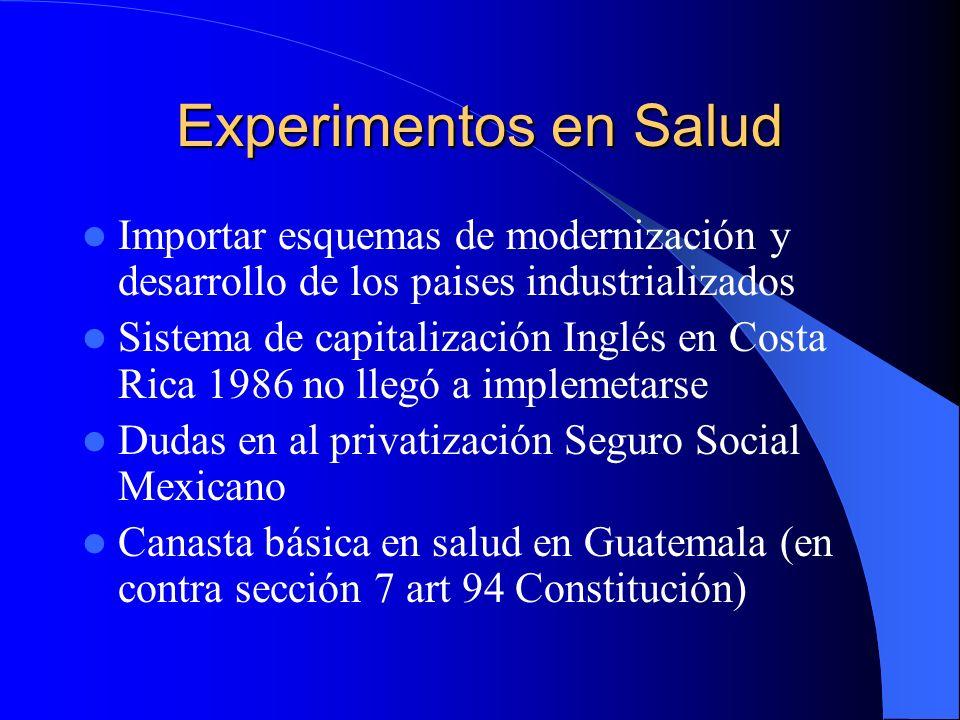 Experimentos en Salud Importar esquemas de modernización y desarrollo de los paises industrializados.