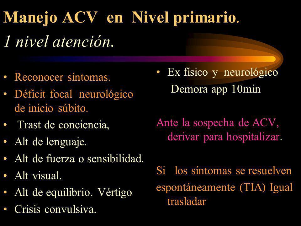 Manejo ACV en Nivel primario. 1 nivel atención.