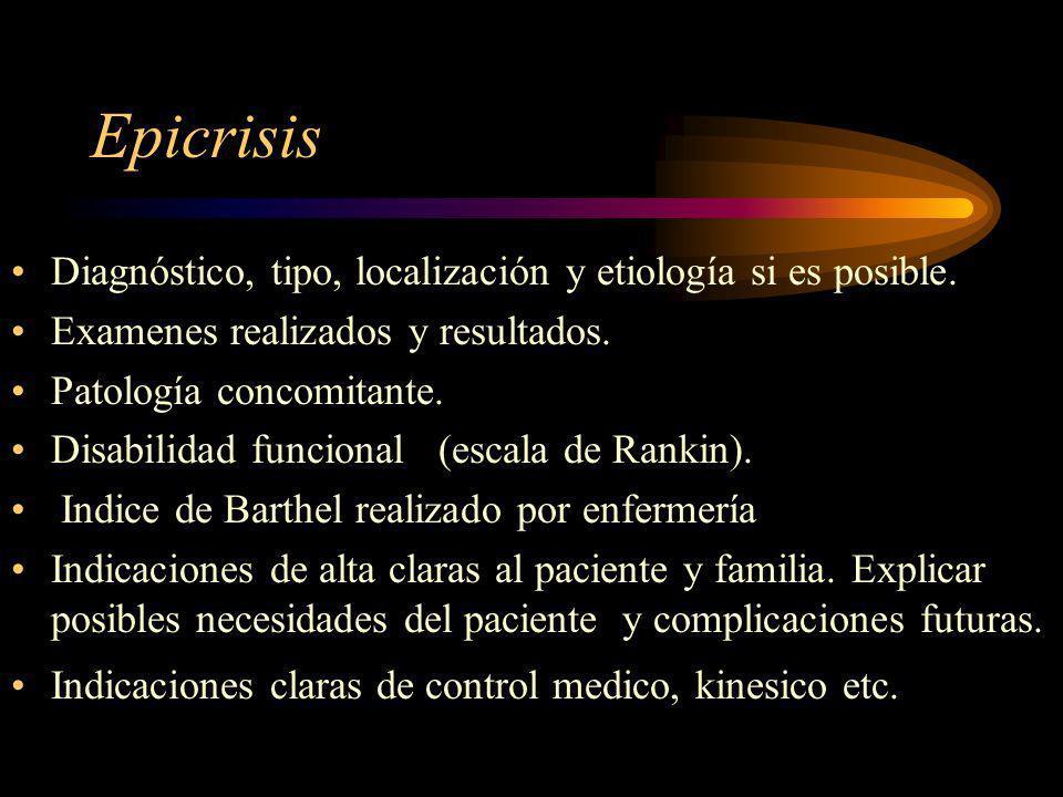 Epicrisis Diagnóstico, tipo, localización y etiología si es posible.