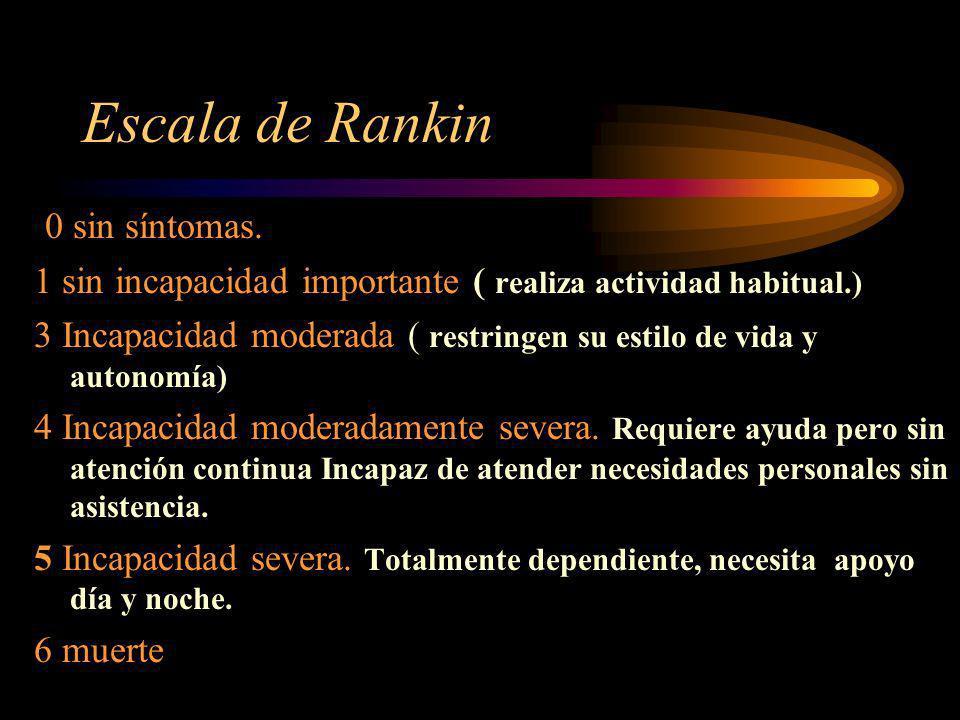 Escala de Rankin 0 sin síntomas.