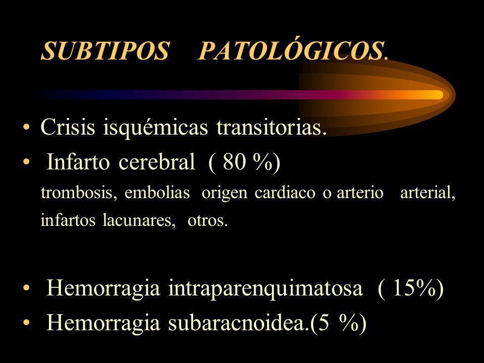 SUBTIPOS PATOLÓGICOS. Crisis isquémicas transitorias.