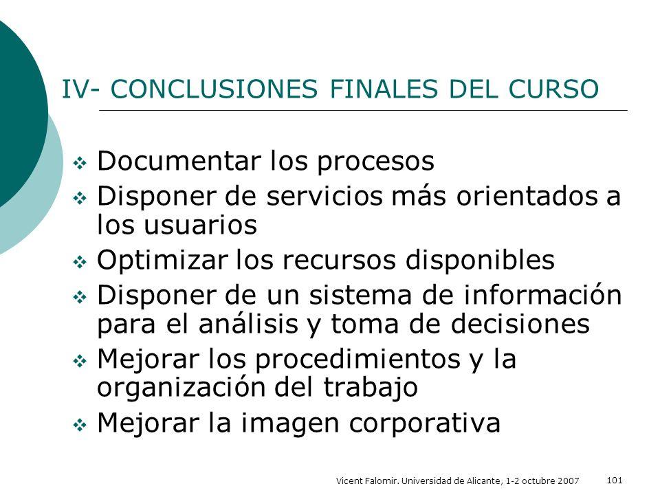 IV- CONCLUSIONES FINALES DEL CURSO