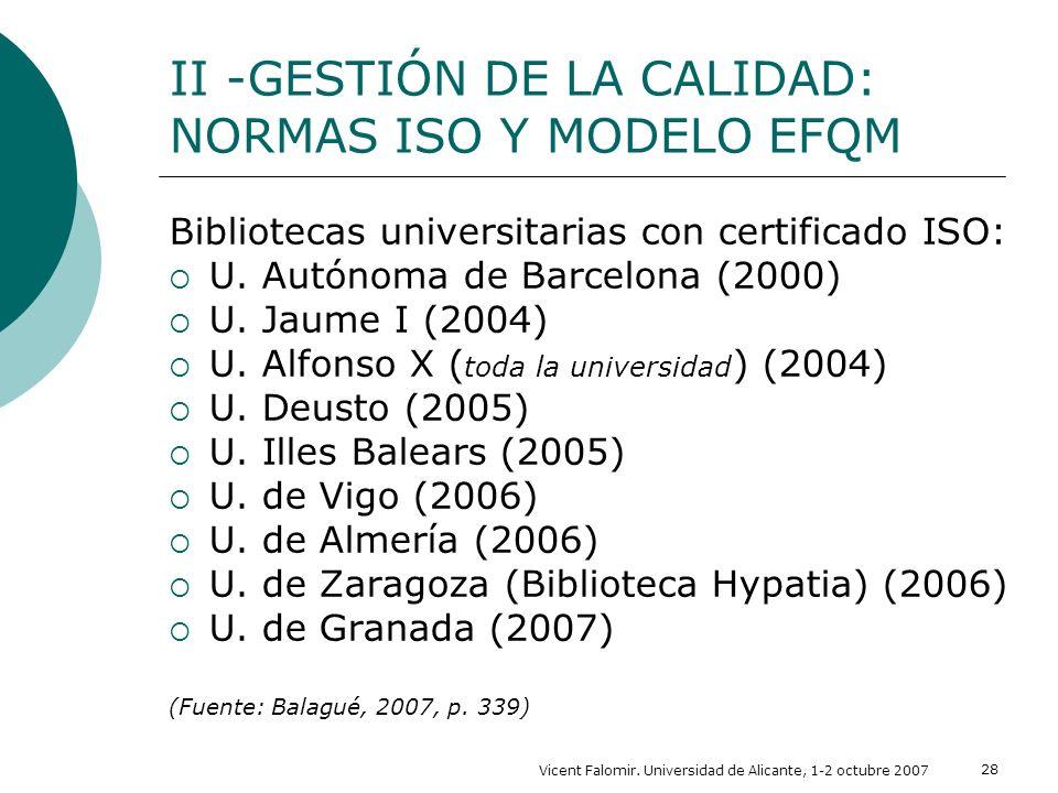 II -GESTIÓN DE LA CALIDAD: NORMAS ISO Y MODELO EFQM