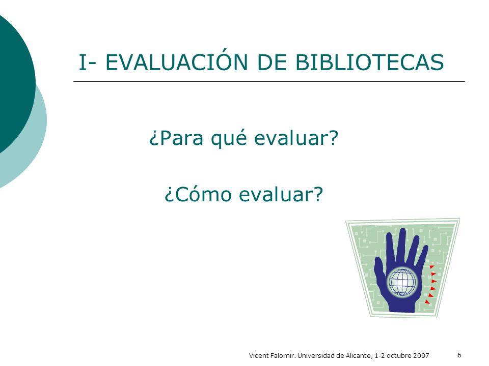 I- EVALUACIÓN DE BIBLIOTECAS
