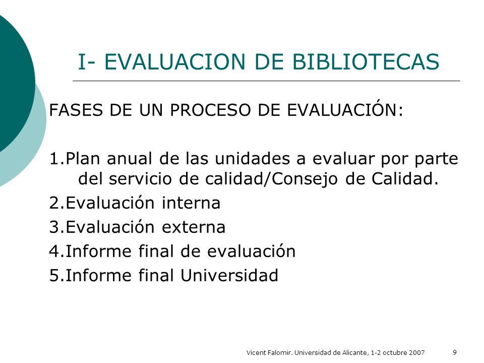 I- EVALUACION DE BIBLIOTECAS