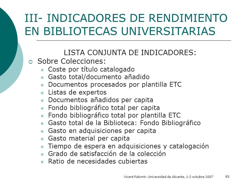 LISTA CONJUNTA DE INDICADORES: