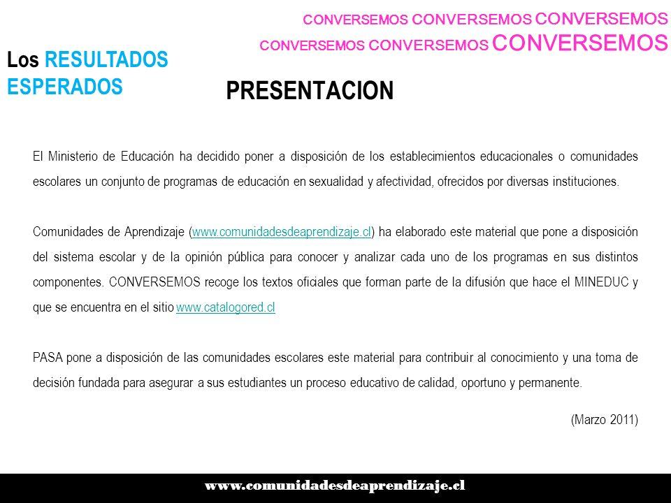 PRESENTACION Los RESULTADOS ESPERADOS www.comunidadesdeaprendizaje.cl