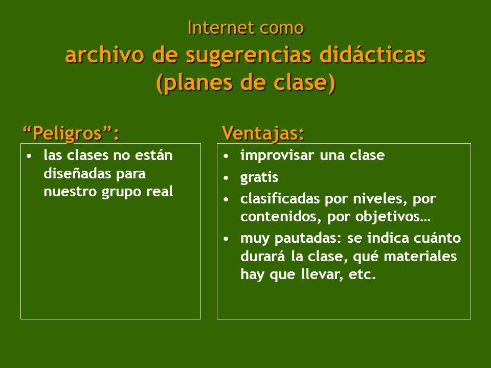 Internet como archivo de sugerencias didácticas (planes de clase)