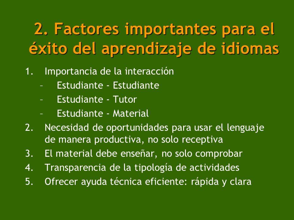 2. Factores importantes para el éxito del aprendizaje de idiomas