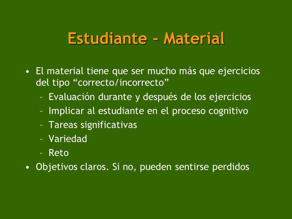 Estudiante - Material El material tiene que ser mucho más que ejercicios del tipo correcto/incorrecto