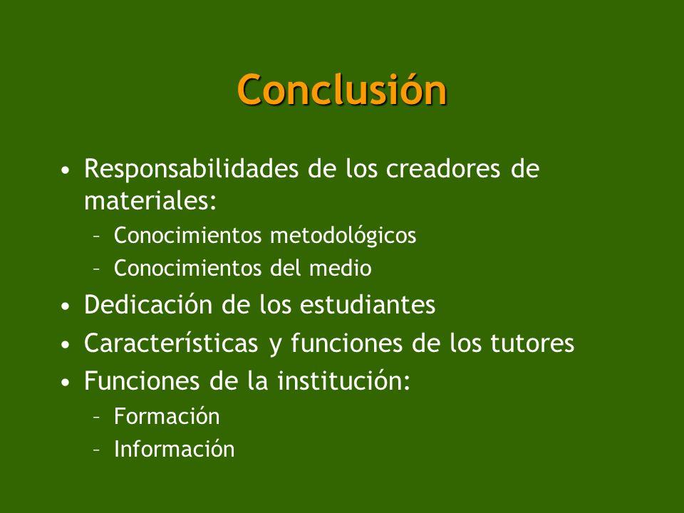 Conclusión Responsabilidades de los creadores de materiales: