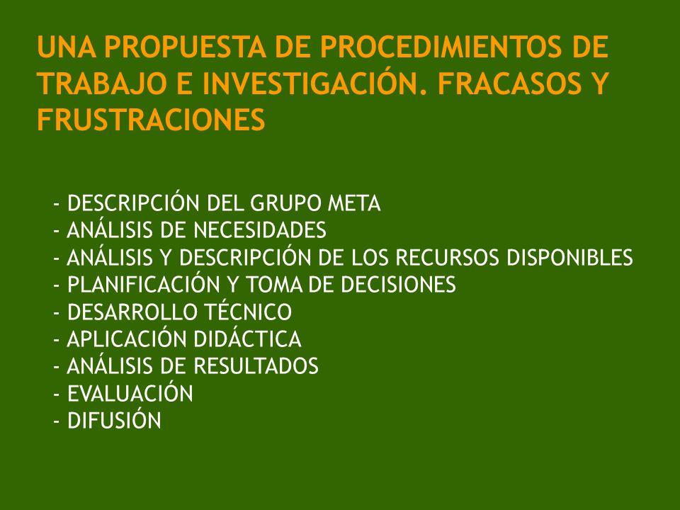 UNA PROPUESTA DE PROCEDIMIENTOS DE TRABAJO E INVESTIGACIÓN