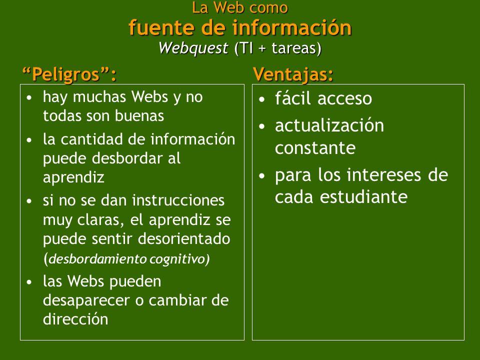 La Web como fuente de información Webquest (TI + tareas)