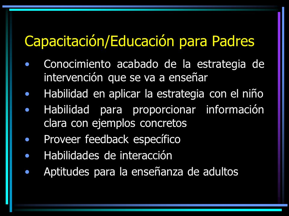 Capacitación/Educación para Padres