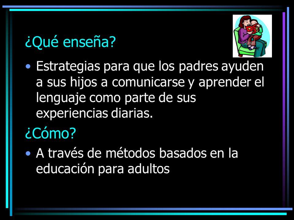 ¿Qué enseña Estrategias para que los padres ayuden a sus hijos a comunicarse y aprender el lenguaje como parte de sus experiencias diarias.