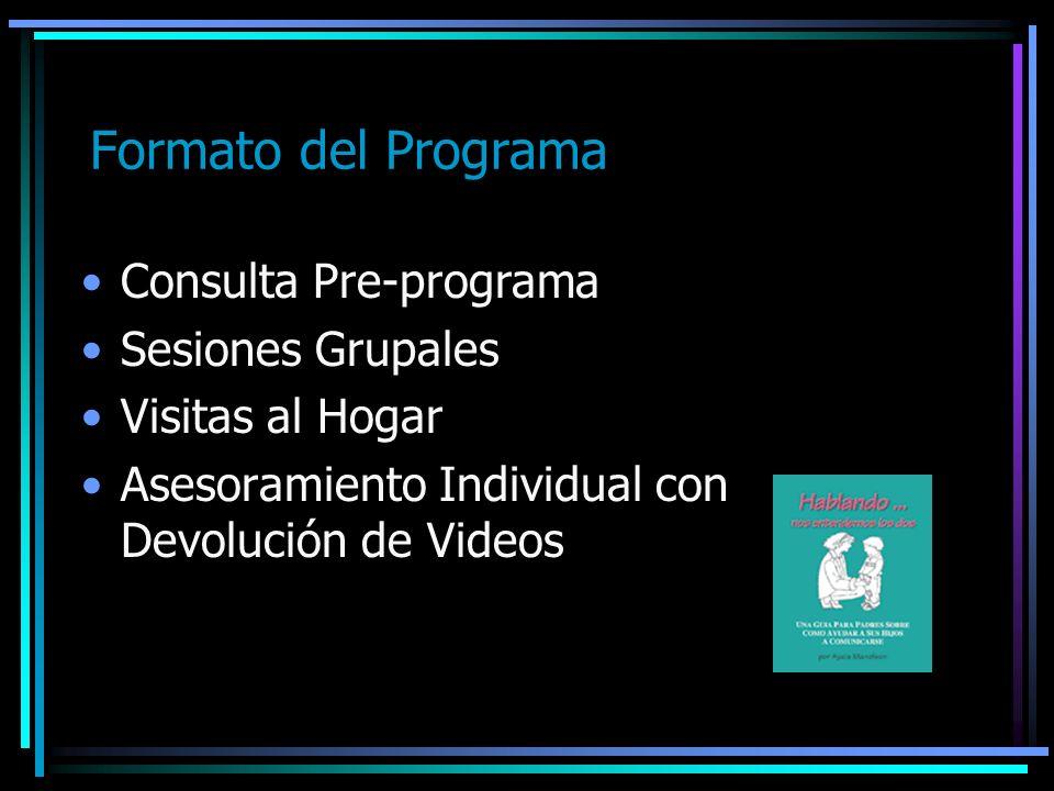 Formato del Programa Consulta Pre-programa Sesiones Grupales